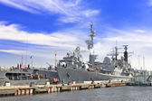 Flagship military ship in gulf. — Stock Photo