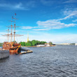 Stock Photo: Old frigate in moorage St.Petersburg, Russia.