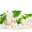 Fresh cottage cheese (curd) heap with parsley, isolated on white — Stock Photo