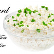 Fresh cottage cheese (curd) in glass bow, isolated on white back — Stock Photo