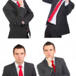 Set of caucasian  businessman on white. Isolated. - Stock Photo