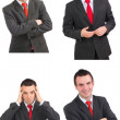 Set of caucasian  businessman on white. Isolated. — Stockfoto