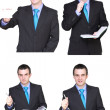 Stock Photo: Set of caucasian businessman on white. Isolated.