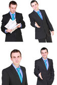 Set of caucasian businessman on white. Isolated. — Stok fotoğraf