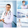 Set (collage) of young doctor in Hospital. — Stock Photo