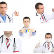 Set (collage) of young doctor in Hospital.Isolated over white — Stock Photo