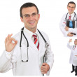 Set (collage) of young doctor in Hospital.Isolated over white — Foto Stock