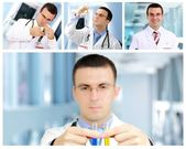 Set (collage) of young doctor in Hospital. — Foto de Stock