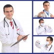 Set (collage) of doctor .Isolated over white background. — Stock Photo #21297793