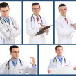 Set (collage) of doctor .Isolated over white background. — Stock Photo #21297813