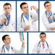 Set (collage) of doctor .Isolated over white background. — Stock Photo #21297843