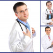 Set (collage) of doctor .Isolated over white background. — Foto Stock