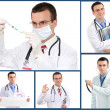 Set (collage) of doctor .Isolated over white background. — Photo