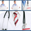 Set (collage) of doctor .Isolated over white background. - Стоковая фотография