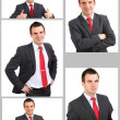 Set (collection) of european businessman.  Isolated over white . - Stok fotoğraf