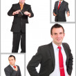 Set (collection) of european businessman.  Isolated over white . - Stockfoto