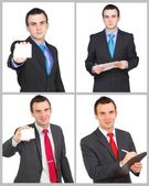 Set (collection) of european businessman. Isolated over white . — Foto Stock
