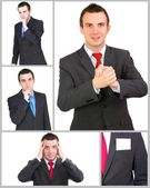 Set (collection) of european businessman. Isolated over white . — Stok fotoğraf