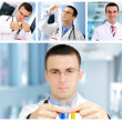 Royalty-Free Stock Photo: Set (collage) of young doctor in Hospital.