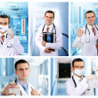 Set (collage) of young doctor in Hospital. — Стоковая фотография