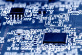 Close-up of electronic circuit board. Macro . — Stok fotoğraf