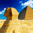 Great Pyramid of Pharaoh Khufu, located at Giza and the Sphinx. — Stock Photo