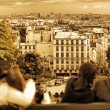 View of Paris from the hill of Montmartre.Couples in love.Paris. — Stock Photo