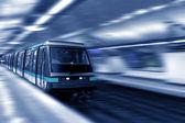 Moving train, motion blurred, Paris Underground. France. — Stock Photo