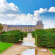 Park des Tuileries and the Louvre Museum.Paris, France — Stock Photo