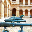 Cannons (guns) in courtyard of Les Invalides hotel . Paris, Fran — Stock Photo