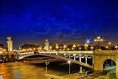 Alexandre III Bridge at the night view.Paris, France. — Stock Photo