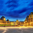 PARIS - SEPTEMBER 17. Glass pyramid and the Louvre museum on Sep — Stock Photo #35294901