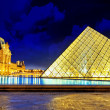 PARIS - SEPTEMBER 17. Glass pyramid and the Louvre museum on Sep — Stock Photo #35461395
