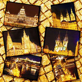 Collage of beautiful Prague.Night view. — Stock Photo