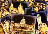 Collage of beautiful Prague.Night view. — Stock Photo