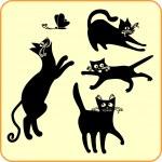 Black cats - vector set. Vinyl-ready EPS. — Stock Vector #16283443