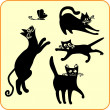 Black cats - vector set. Vinyl-ready EPS. — Vector de stock #16283443