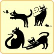 Royalty-Free Stock Vector Image: Black cats - vector set. Vinyl-ready EPS.