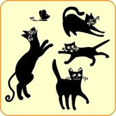 Black cats - vector set. Vinyl-ready EPS. — Vettoriale Stock