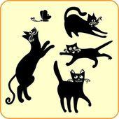 Gatos pretos - set vector. vinil-pronto eps. — Vetorial Stock