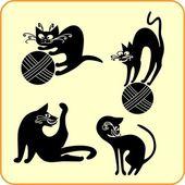 Black cats - vector set. Vinyl-ready EPS. — Stock Vector
