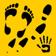 Footprints vector set - vinyl-ready illustration. — Stockvectorbeeld