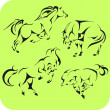 Light Horses - vector set. Vinyl-ready. — Stock vektor