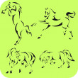 Light Horses - vector set. Vinyl-ready. — Imagen vectorial