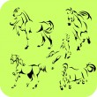 Light Horses - vector set. Vinyl-ready. — Vettoriali Stock