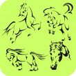 Light Horses - vector set. Vinyl-ready. — Stockvectorbeeld