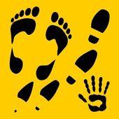 Footprints vector set - vinyl-ready illustration. — Stock Vector
