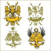 Emblème militaire - set vector. — Vecteur