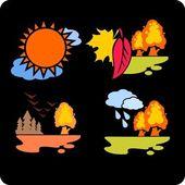Saisons et set météo-vector. — Vecteur