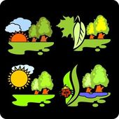 Seasons and weather- vector set. — Stock Vector